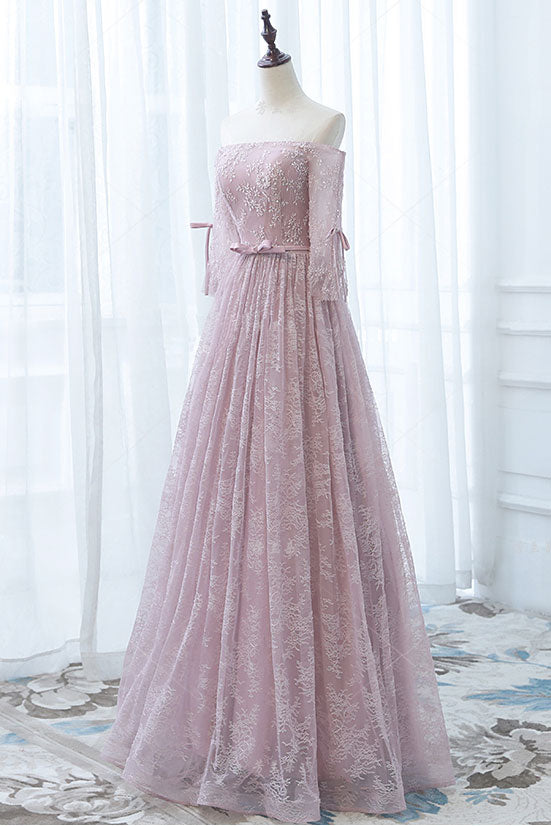 Pink lace long prom dress, pink lace bridesmaid dress