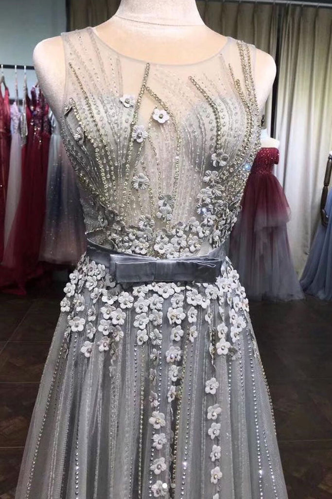 Gray tulle lace beads long prom dress, gray tulle evening dress