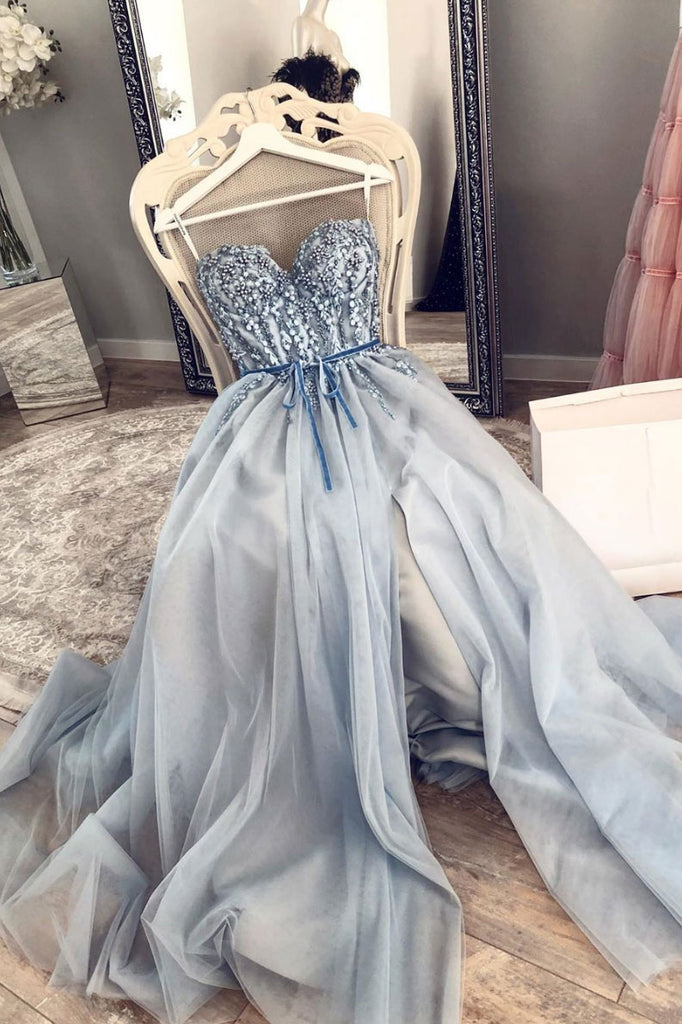 Blue sweetheart tulle lace long prom dress, lace evening dress
