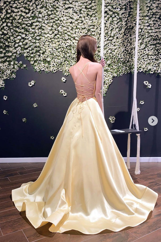 Simple yellow sweetheart prom dress yellow formal dress