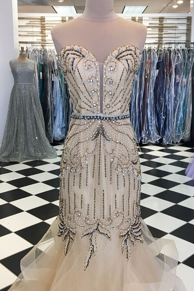 Champagne tulle sequin beads long prom dress, champagne evening dress