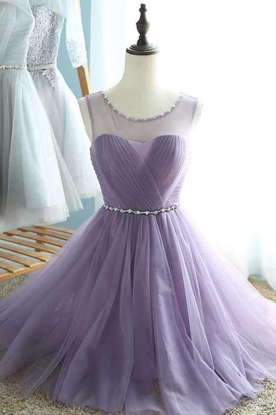 Cute tulle short prom dress, bridesmaid dress