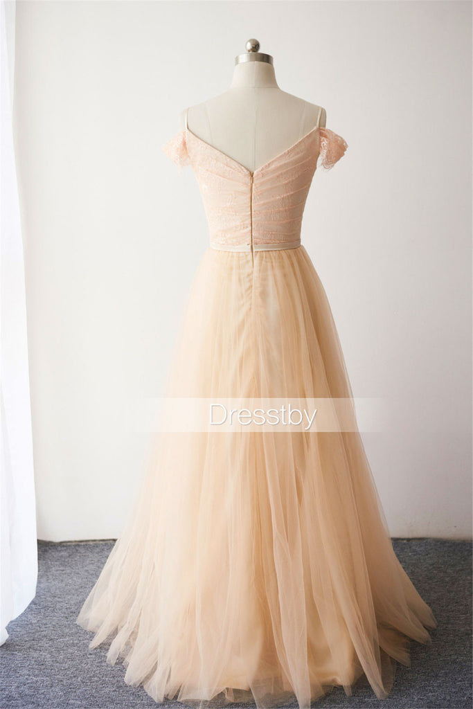 Champagne tulle lace off shoulder long prom dress, bridesmaid dress