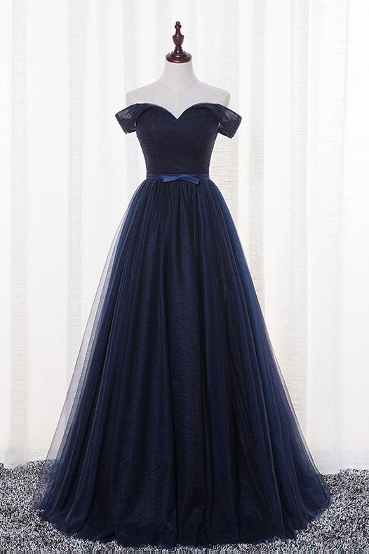 Simple dark blue tulle long prom dress, dark blue evening dress