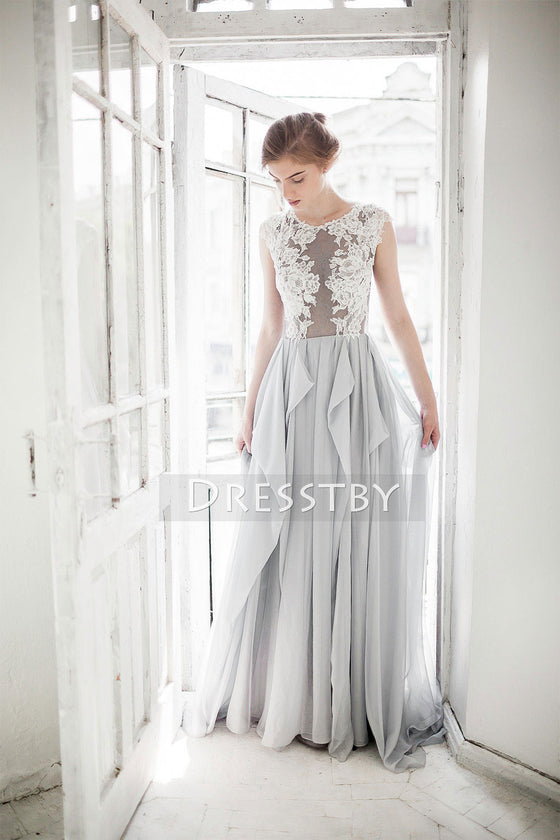 Gray A-line chiffon lace long prom dress, wedding dress