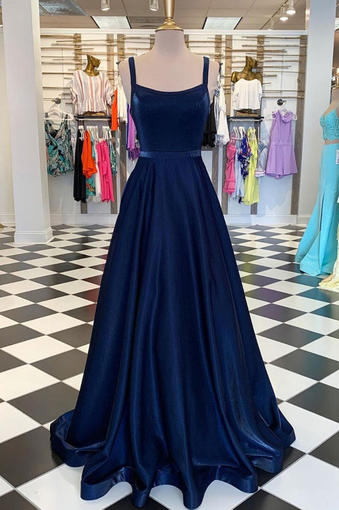 Dark blue long prom dress, simple blue evening dress