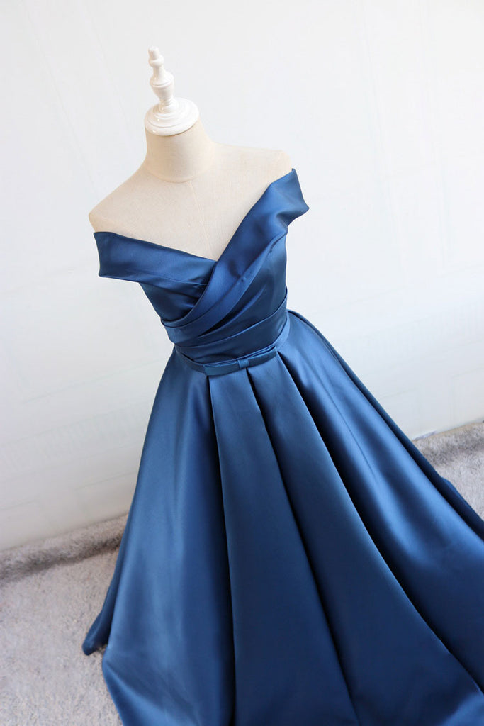 Blue v neck satin long prom dress, blue satin evening dress