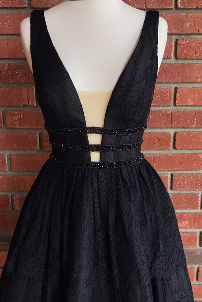 black v neck lace short prom dress, cute homecoming dress