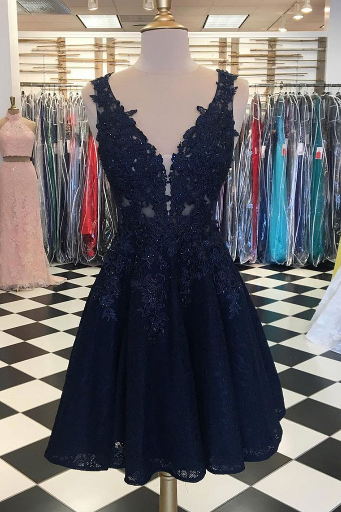 Cute  v neck lace tulle short prom dress, black homecoming dress