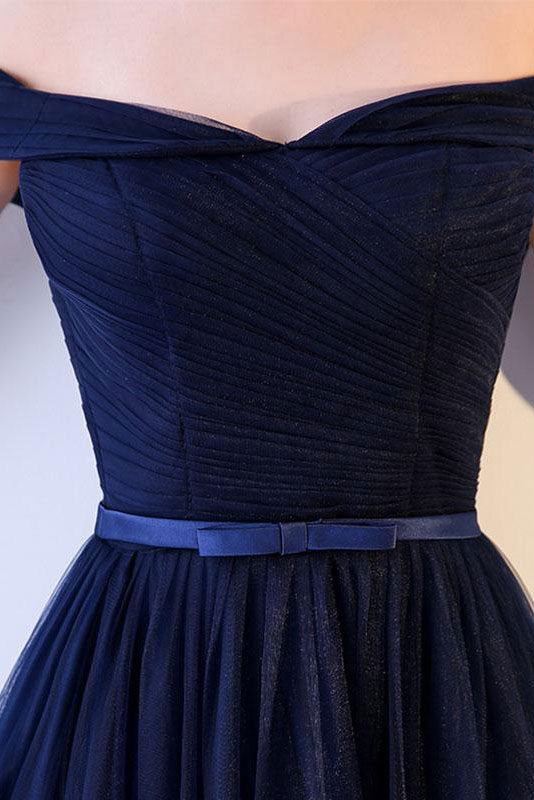 Simple sweetheart tulle dark blue long prom dress, blue bridesmaid dress