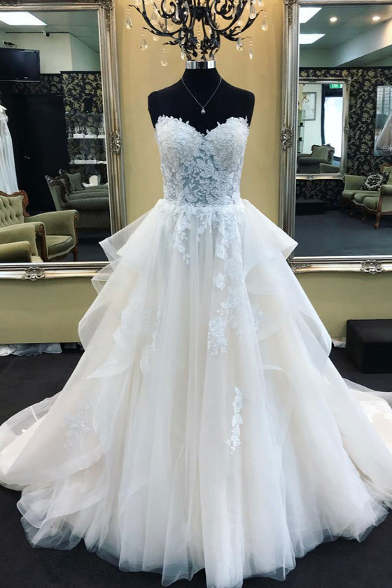 White sweetheart neck tulle lace long prom dress, wedding dress