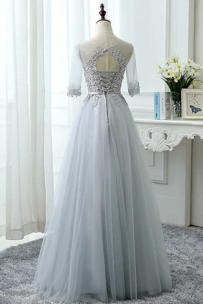 Gray tulle lace long prom dress tulle lace bridesmaid dress gray tulle lace long prom dress tulle lace bridesmaid dress ombrellifo Image collections