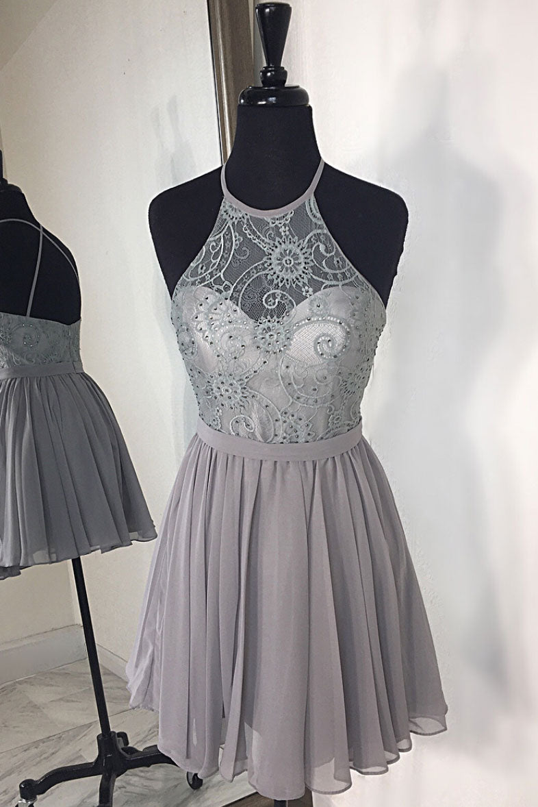 Gray high neck chiffon lace short prom dress, gray homecoming dress