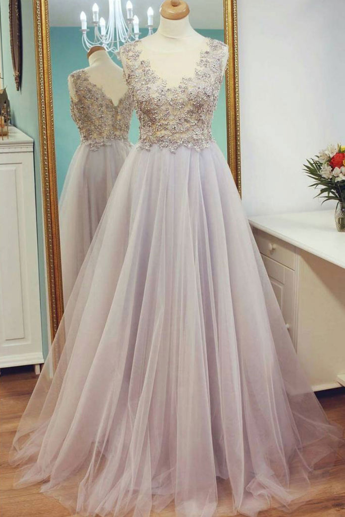 Unique lace tulle long prom dress, tulle lace evening dress