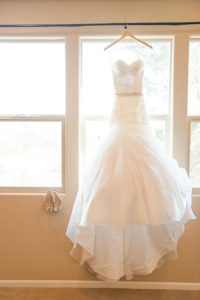 White sweetheart Organza mermaid long wedding dress, bridal gown