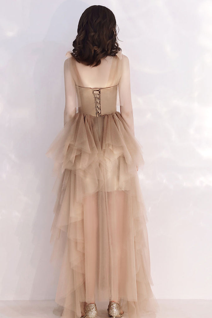 Champagne tulle long prom dress tulle formal dress