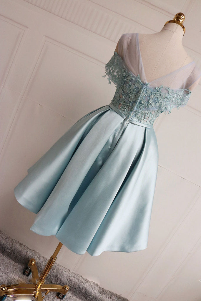 Blue lace short prom dress, blue lace bridesmaid dress