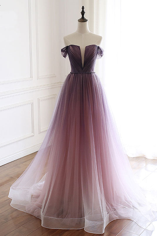 Unique tulle long prom dress, tulle evening dress