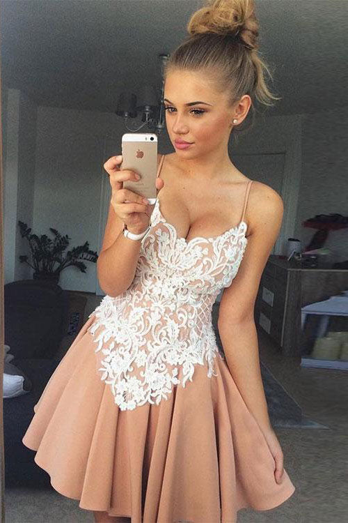 Champagne v neck lace short prom dress, champagne short homecoming dress