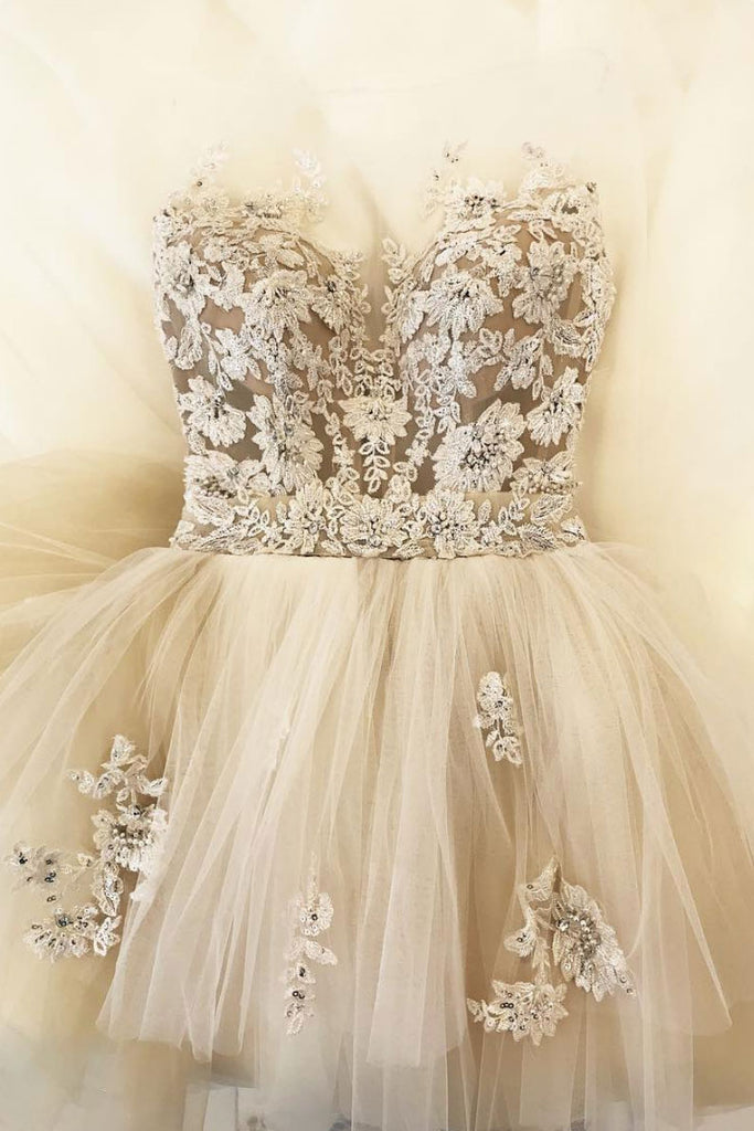 Champagne tulle lace long prom dress, tulle lace evening dress