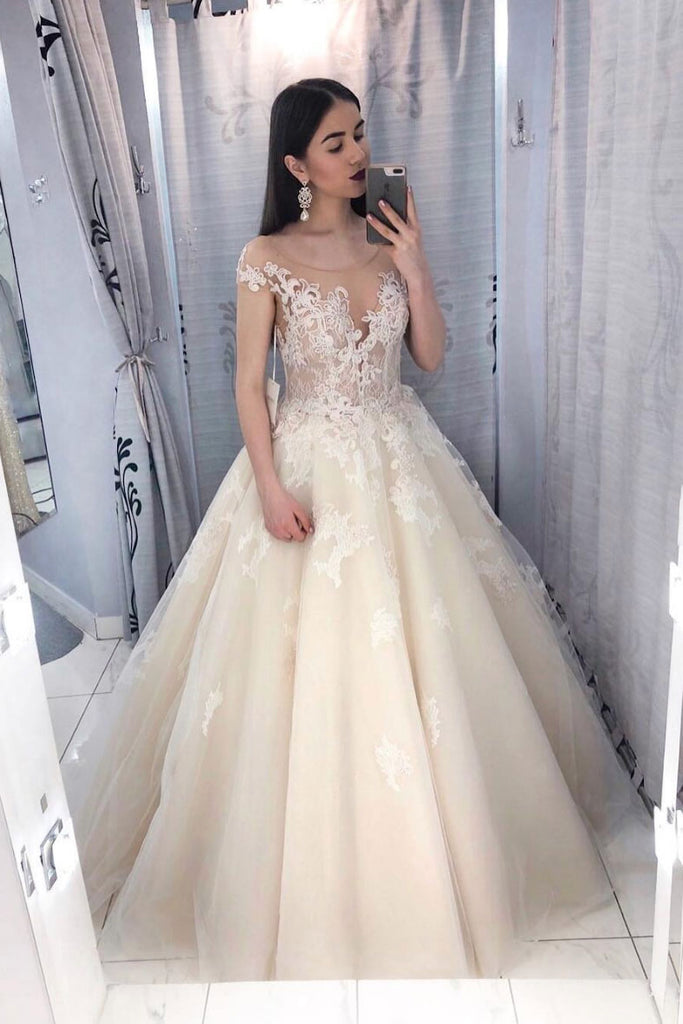 Champagne tulle lace long prom dress, lace tulle evening dress