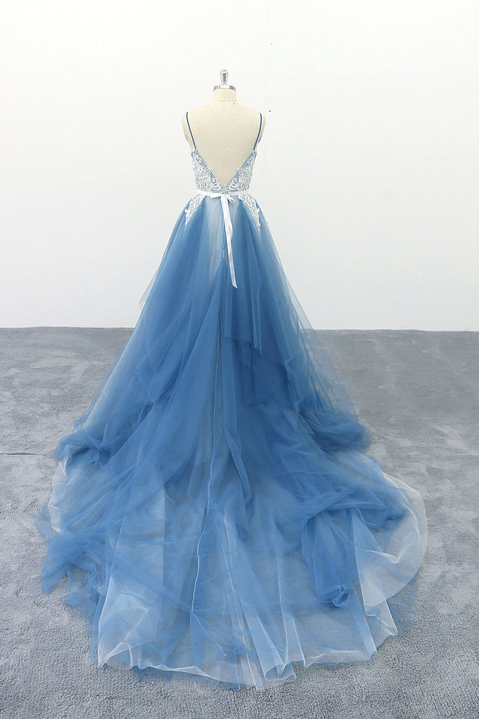 Blue v neck tulle lace long prom dress, blue lace evening dress