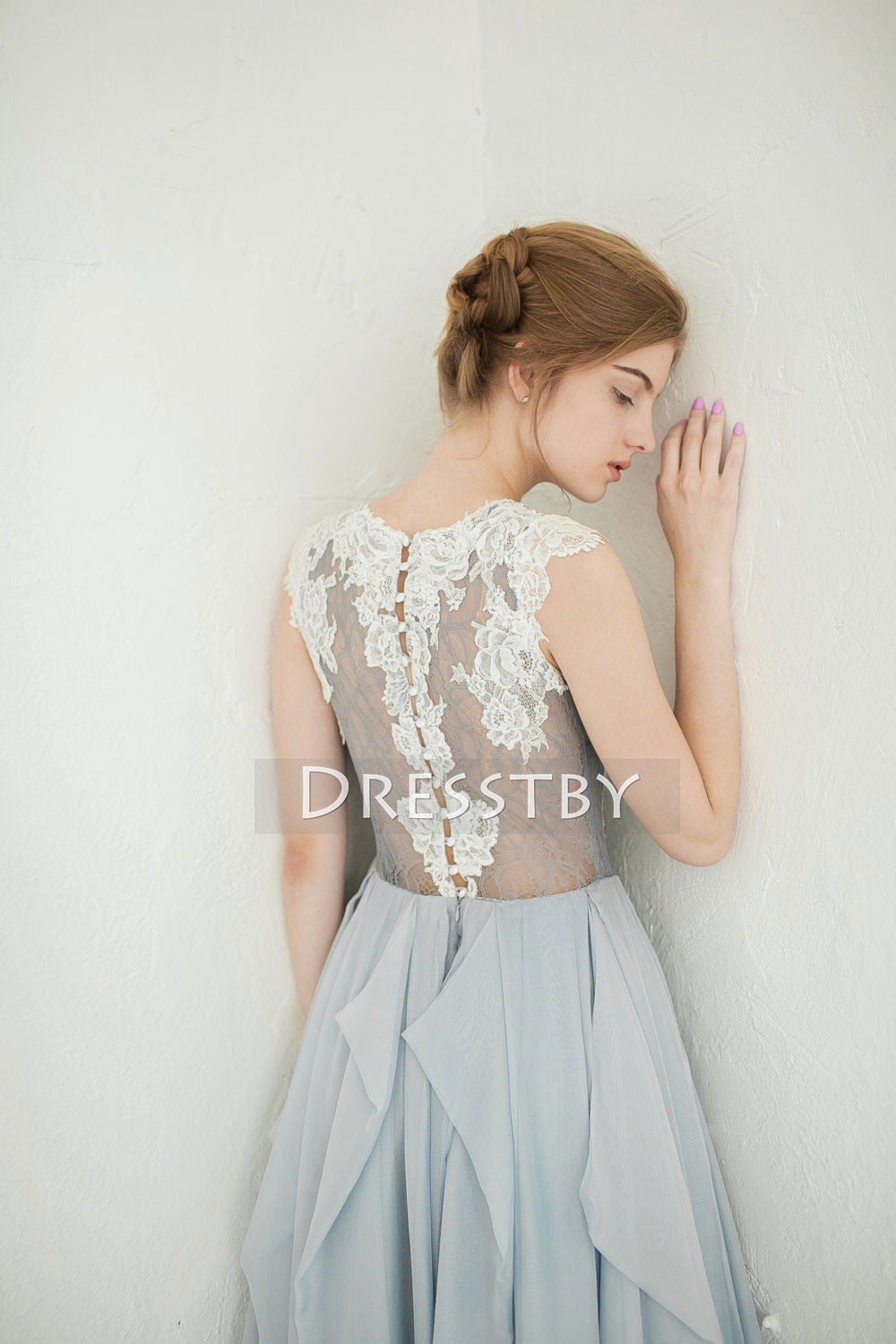 gray wedding dresses gray a line chiffon lace prom dress wedding dress 4597
