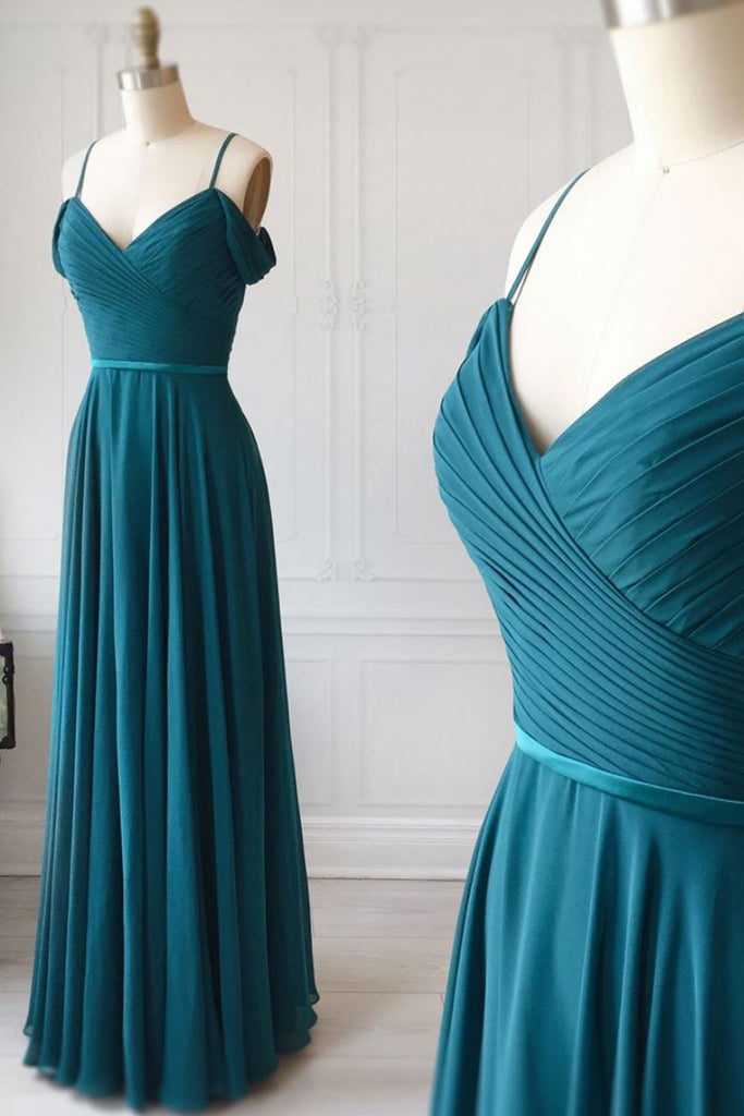 Simple sweetheart green chiffon long prom dress, green evening dress