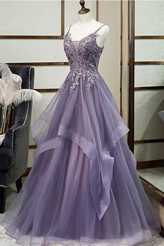 Unique v neck tulle lace long prom dress tulle lace formal dress