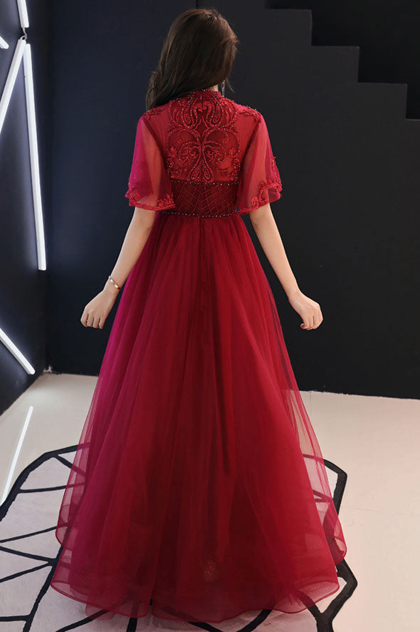 Unique burgundy tulle lace long prom dress burgundy evening dress