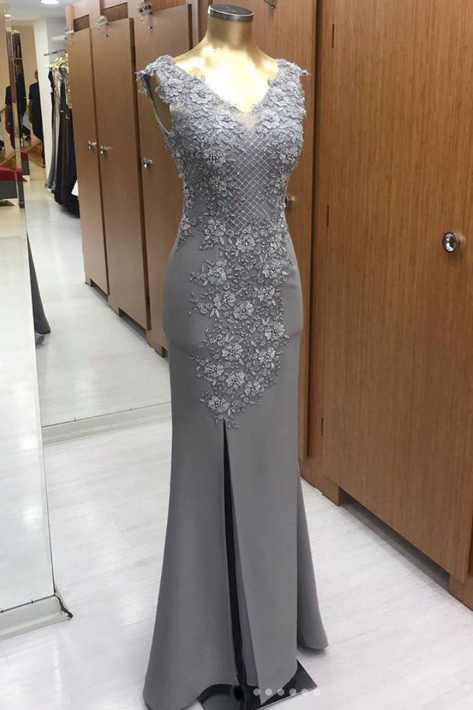 Gray v neck chiffon lace long prom dress. gray evening dress