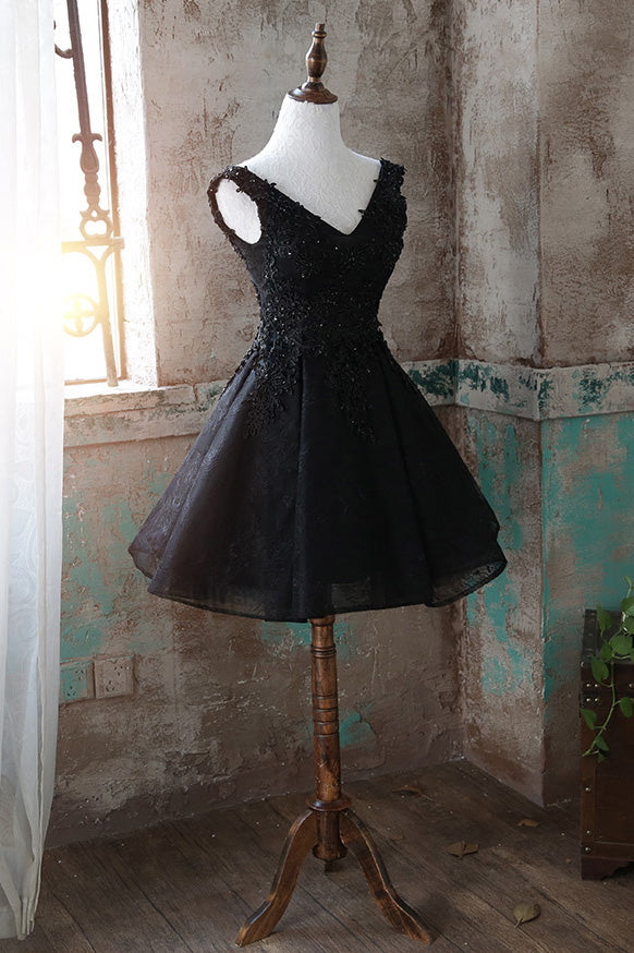 Black v neck tulle lace short prom dress black homecoming dress