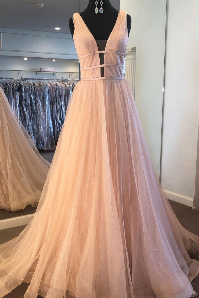 Simple v neck tulle long prom dress, tulle formal dress