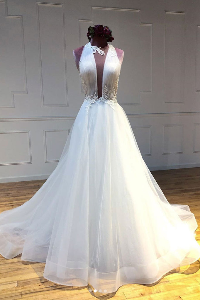 Unique white tulle long prom dress tulle long evening dress