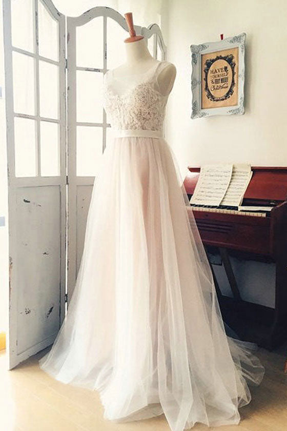 Light champagne tulle lace long prom dress, tulle evening dress