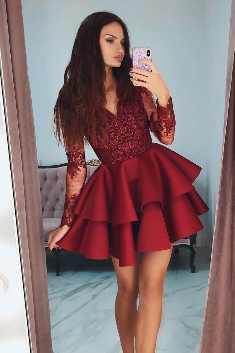 5aa8b3b080f Burgundy v neck lace short prom dress
