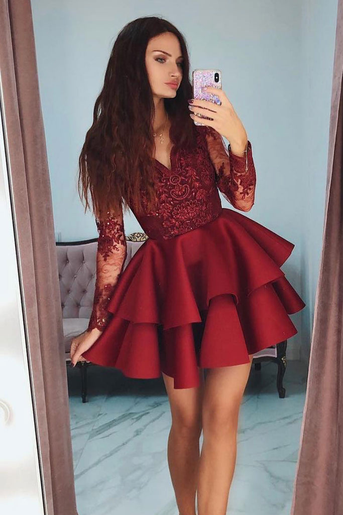 Burgundy v neck lace short prom dress, burgundy homecoming dress