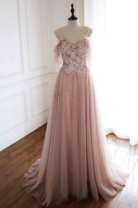 Unique pink tulle lace long prom dress, pink evening dress