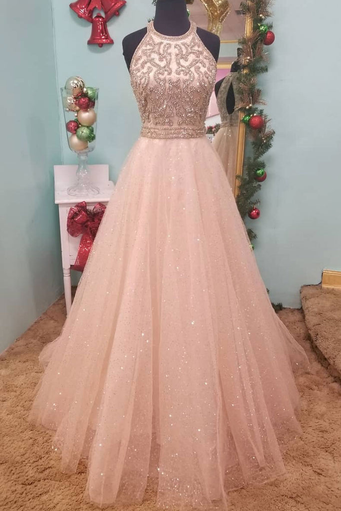 Unique tulle round neck tulle sequin long prom dress, champagne evening dress