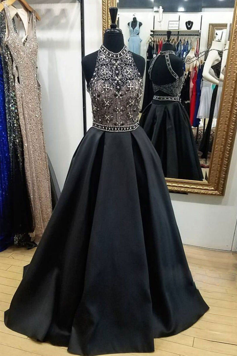 Black high neck lace beads long prom dress, black evening dress
