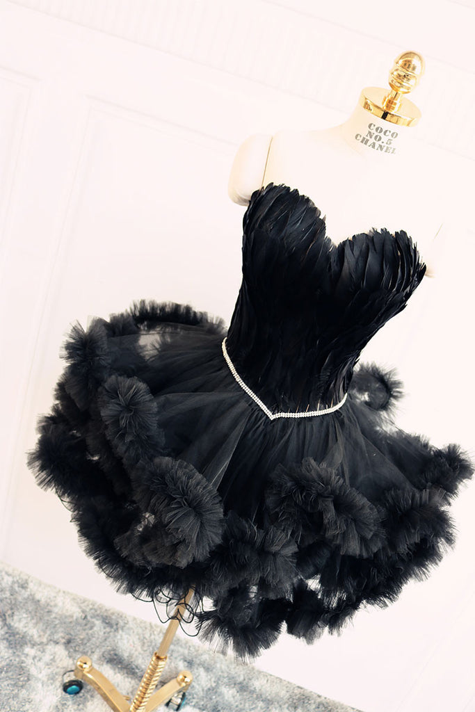 Black sweetheart neck short prom dress, cute homecoming dress