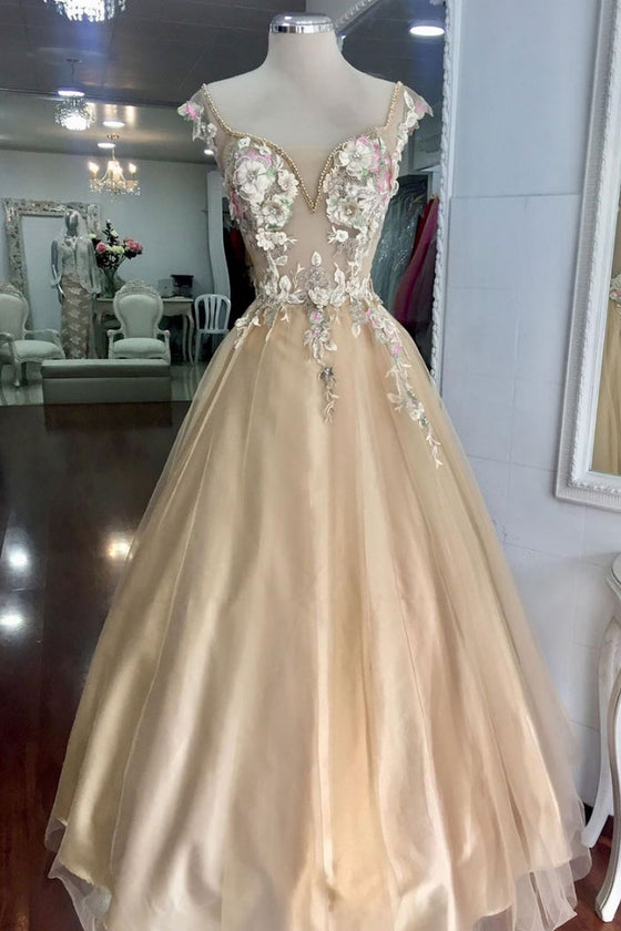 Champagne tulle lace flower long prom dress, evening dress