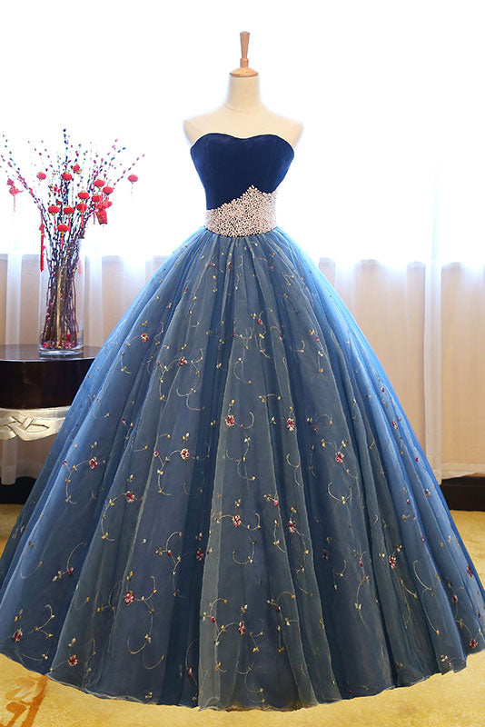 Blue sweetheart neck tulle long prom gown, blue sweet 16 dress