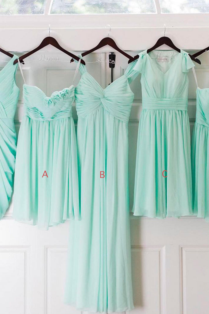 Green A-line chiffon prom dress, green bridesmaid dress