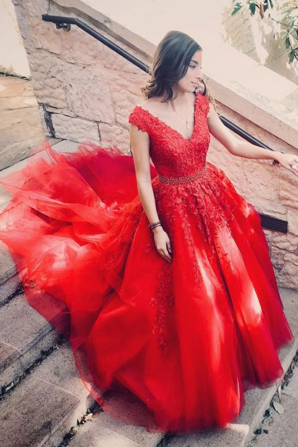 Red v neck tulle lace applique long prom dress, red tulle evening dress