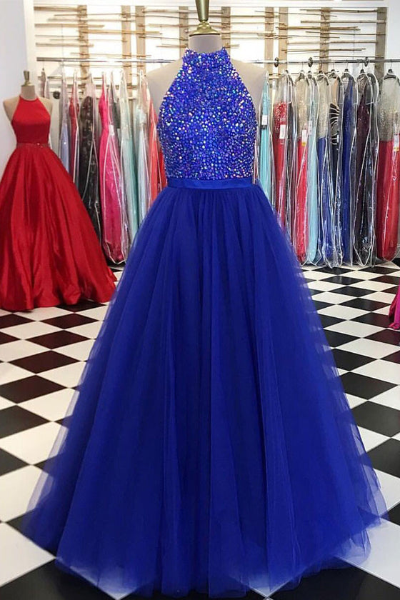 Unique blue tulle beads long prom dress, tulle evening dress
