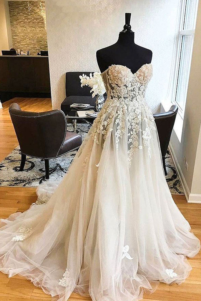White sweetheart lace applique tulle wedding dress, lace wedding gown
