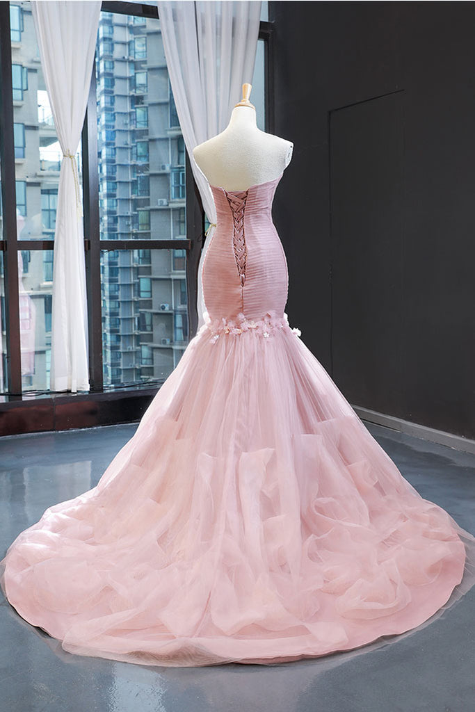 Pink sweetheart tulle mermaid long prom dress pink evening dress