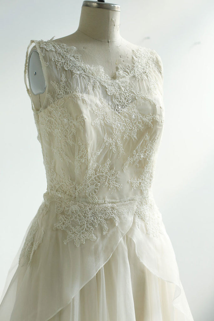 ivory round neck lace chiffon long prom dress, lace wedding dress