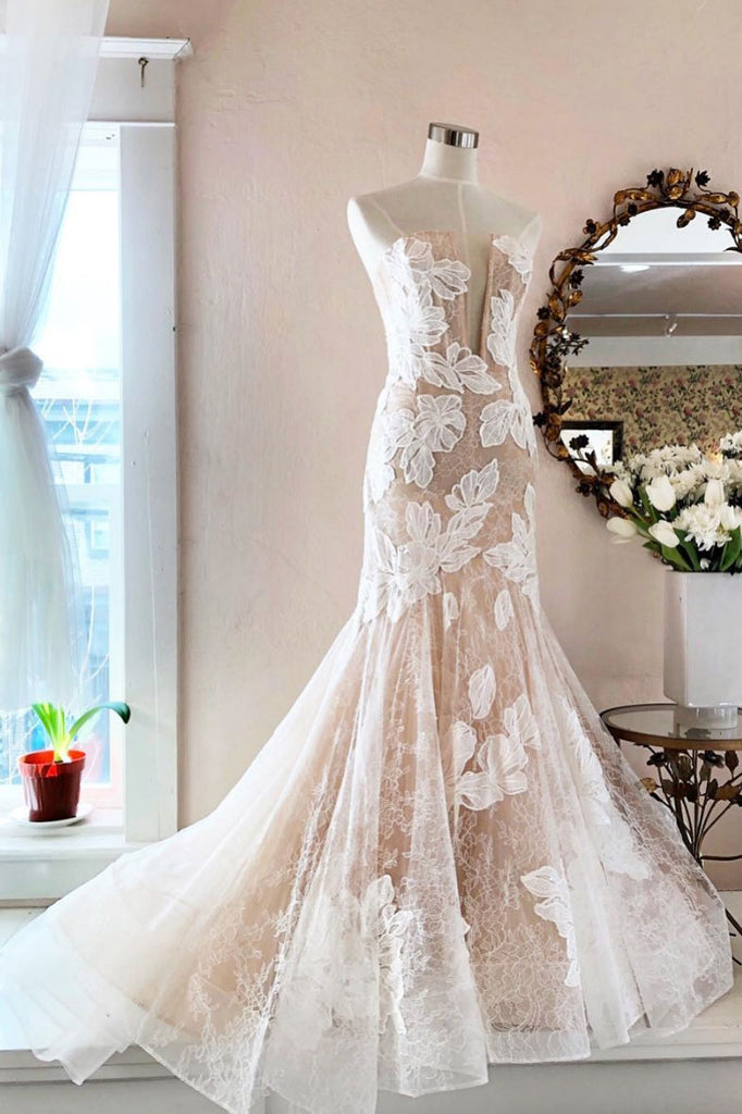 Light champagne tulle lace long prom dress, champagne wedding dress